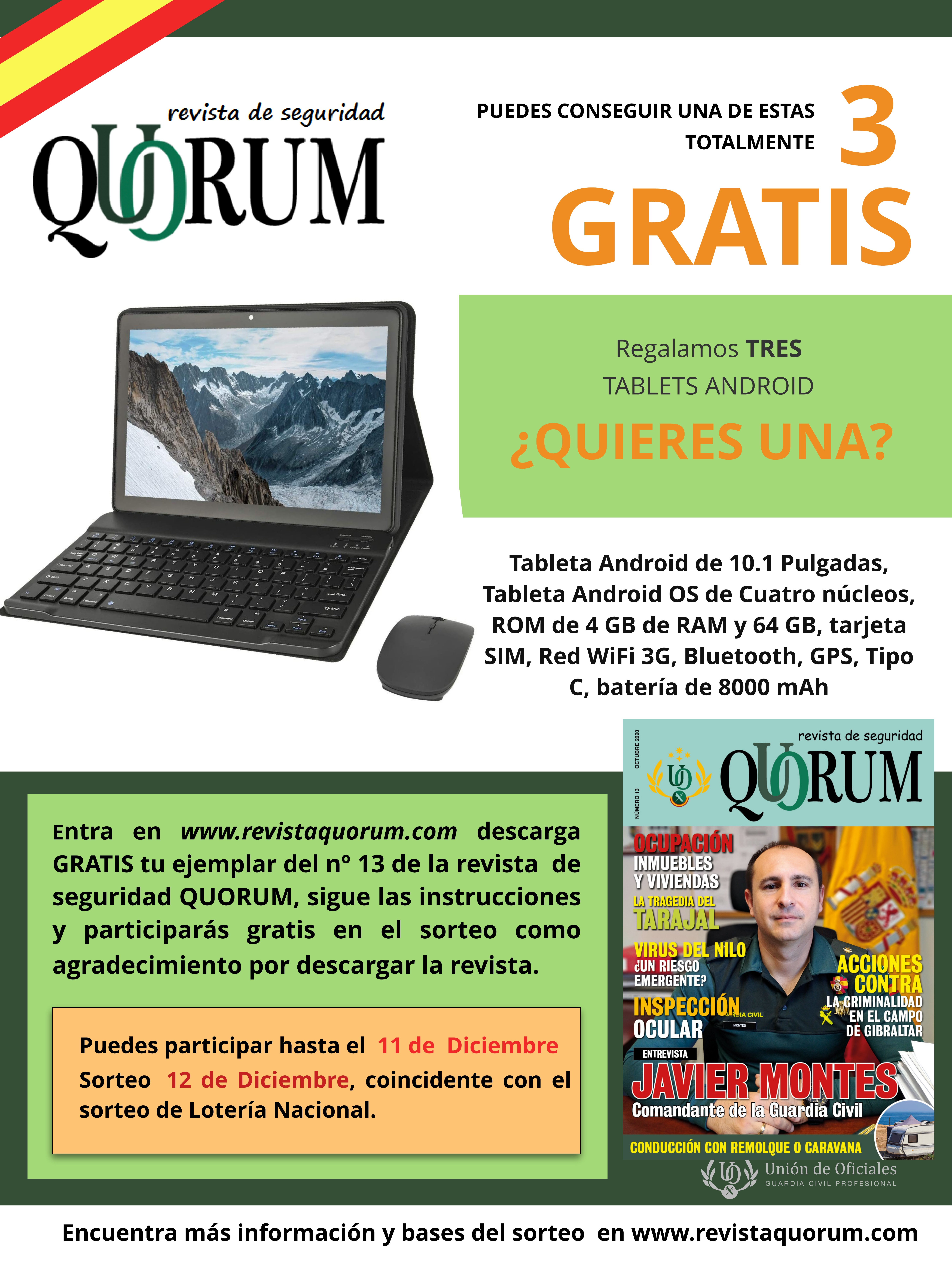 Sorteo QUORUM Núm 13. Tablet Android 10.1